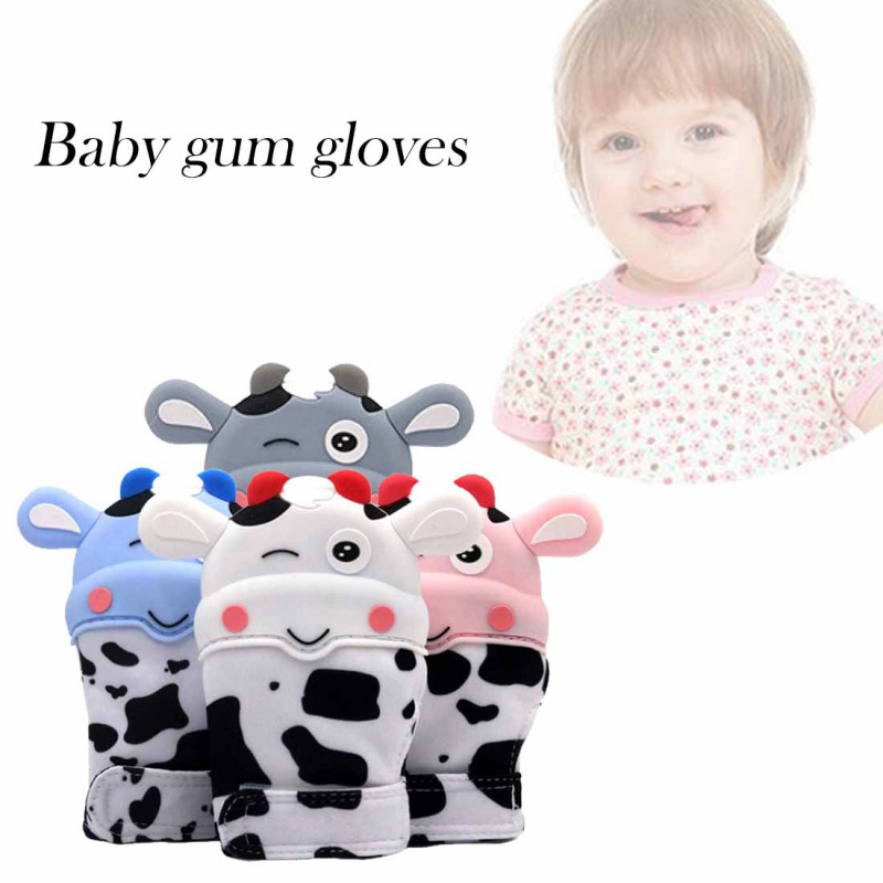 Newborn Baby Cute Cartoon Silicone Teether Baby Bijtringen Mitten Pain Relief Self-Soothing Teething Glove For Infant Baby
