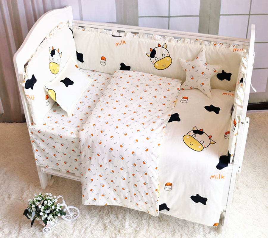 Ensemble de literie bébé coton imprimé nouveau-nés berceau étui de protection bébé linge de lit lit lit pare-chocs drap de lit infantile taie d'oreiller bébé ensemble de lit