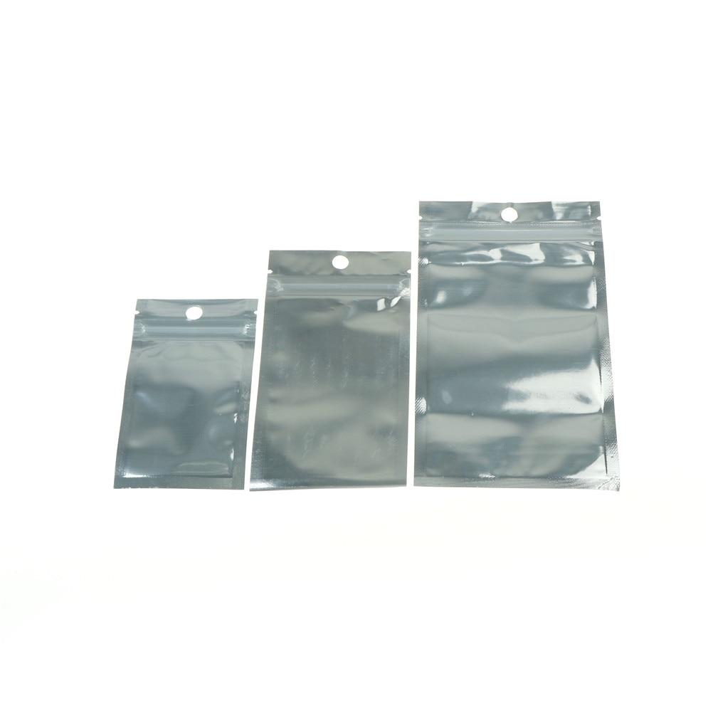 100Pcs/lot Clear Foil Mylar Vacuum Sealer Zipper Silver Aluminum Bags Food Storage Pouches For Kitchen Tools 3 Sizes