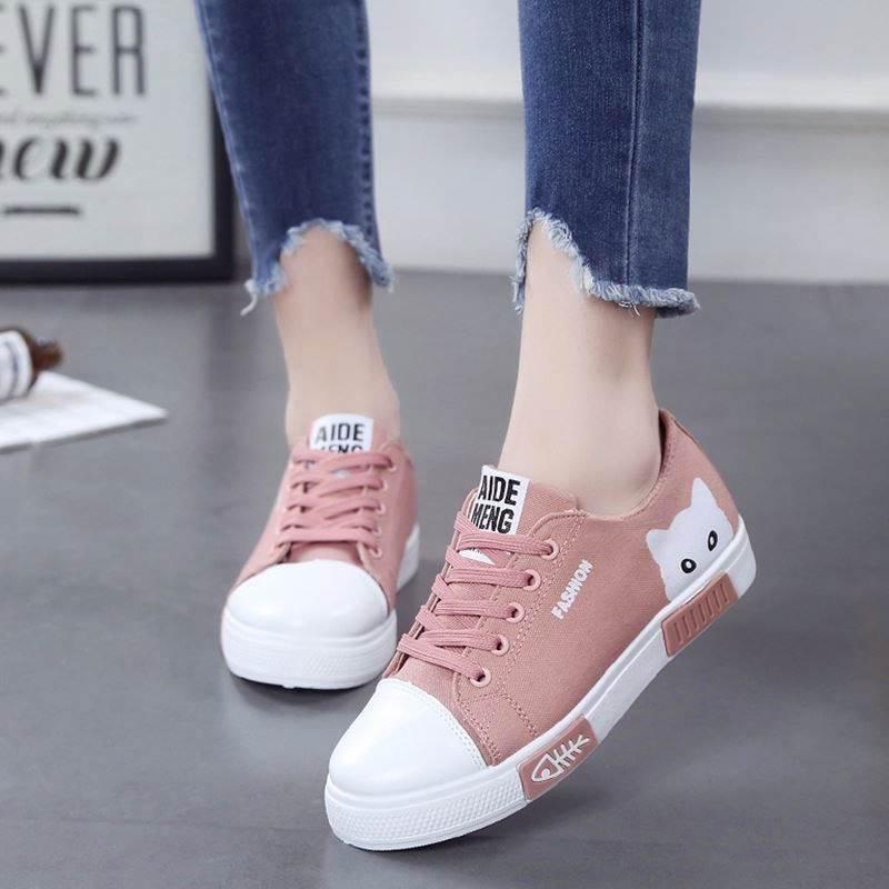 Fashion Women Shoes Women Flats Canvas Shoes Platform Sneakers Women Lace Up Cartoon Cat Ladies Board Shoes  White Female Shoes