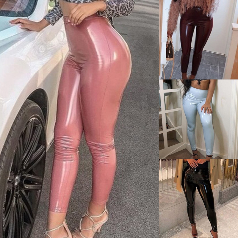 Heflashor Women Tight Legging Pants Skinny Elastic High Waist Sexy Lady Leggins Slim Fitness Ankle Faux Leather Trousers Red 2XL
