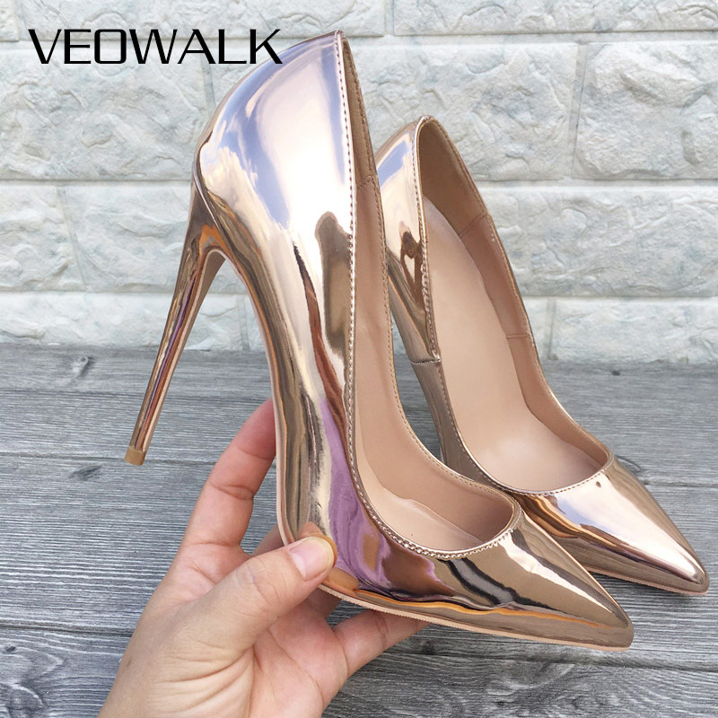 Veowalk Champagne Gold Womens Patent Leather Stilettos Pumps Elegant Ladies Wedding High Heel Shoes Pointed Toe Slip on Heels