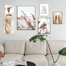 Nórdico pintura da lona da arte da parede bege reed flores secas posters e cópias paisagem parede fotos para sala de estar decoração