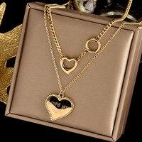 XIYANIKE 316L Edelstahl Gold Farbe Herz Halsketten Joker Kleine Runde Halsketten Collier 2021 Weibliche Mode Schmuck Colar
