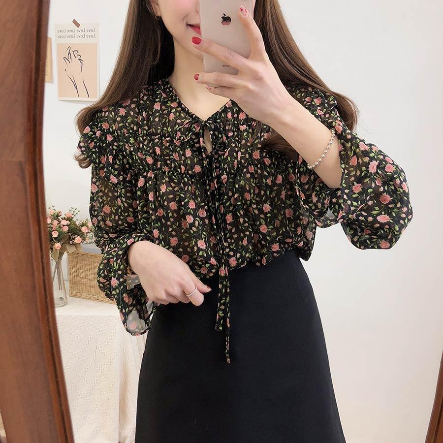 Hcc955c36846f47f295f74d4a99e17c76k - Spring / Autumn Lace-Up Collar Long Sleeves Floral Print Blouse