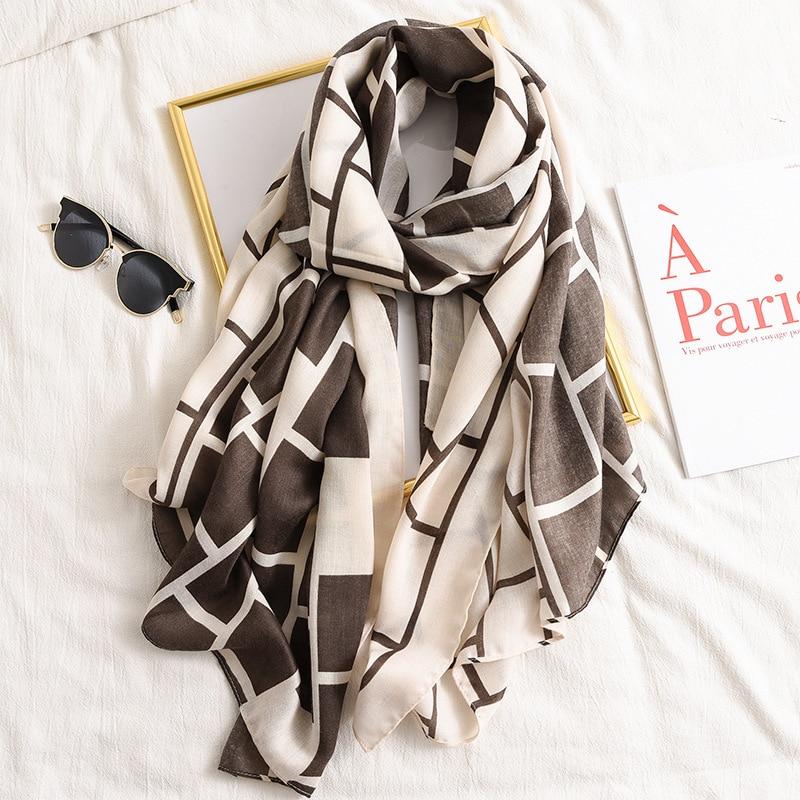 New 2020 Brand Women Scarf Fashion Geometric Cotton Winter Scarves For Lady Shawls And Wraps Pashmina Warm Stoles Hijab Foulard