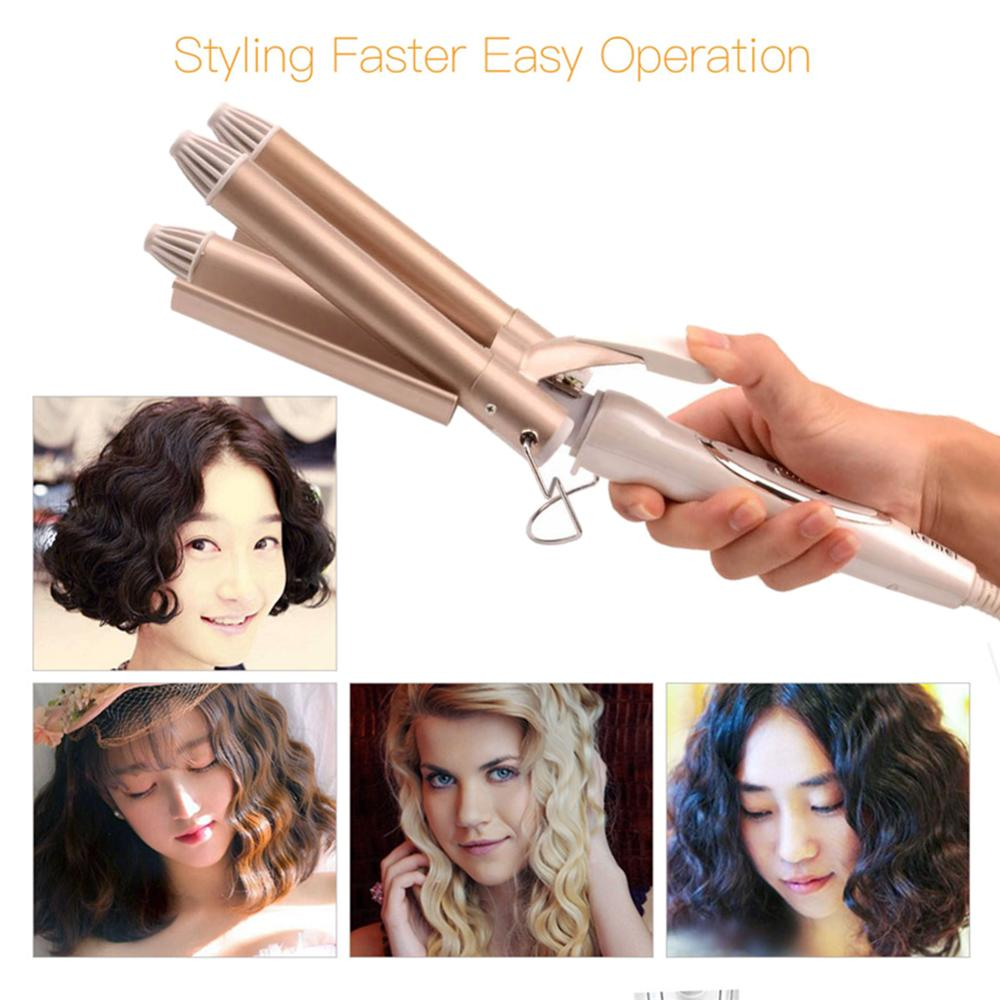 Купить с кэшбэком Professional Hair Tools Curling Iron Ceramic Triple Barrel Hair Styler Hair Waver Electric Curling Tools 41D 110-220V For Women