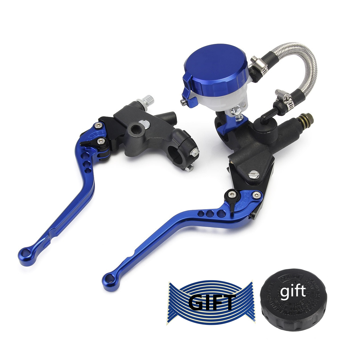 22mm 1 Pair Motorcycle Brake and Clutch Levers Universal Brake Clutch Master Cylinder Reservoir Levers 7//8 Blue