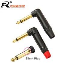 10 unids/lote conector de cable de ángulo recto de 6,35mm, enchufe silencioso de 2 polos, Conector Mono de micrófono de 6,35mm chapado en oro de 1/4 pulgadas