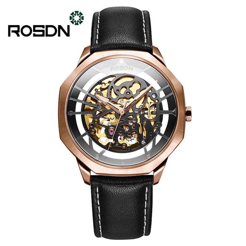 ROSDN genuine watches men's hollow men's watches automatic mechanical men's watches fashion stainless steel waterproof