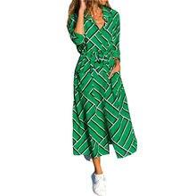 Модное женское шифоновое платье с геометрическим рисунком рубашка