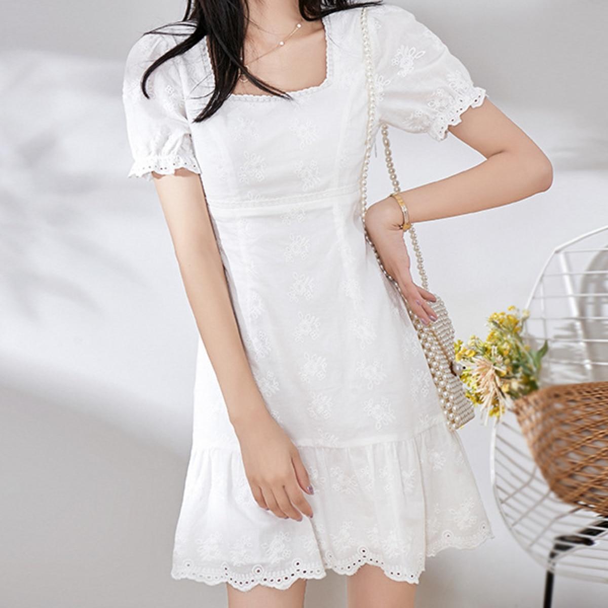 Fashion Women Sexy Square Collar White Lace Dress Romantic Lady Short Sleeve A-line Mini Cocktail Dress Summer Платье Вечернее