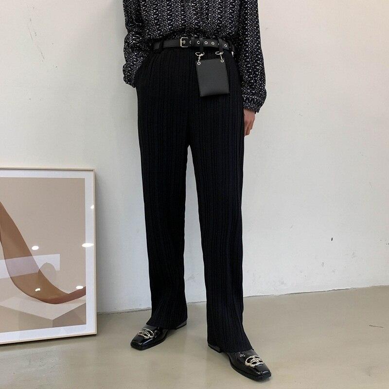 Men Women Contain Rivet Bag Draped Folds Casual Pant Male Japan Korea Streetwear Long Straight Trousers
