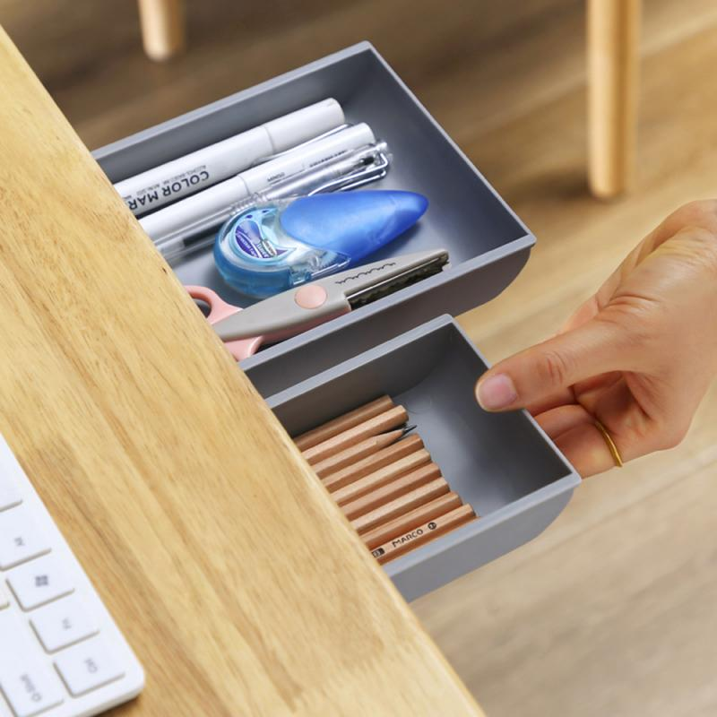 Self-Adhesive Under Desk Drawer Makeup Organizer Desktop Sundries Storage Box
