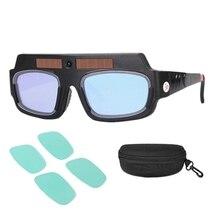 Solar Powered Auto Darkening Welding Mask Helmet Goggles Welder Glasses Arc Anti-Shock Lens with Storage Case