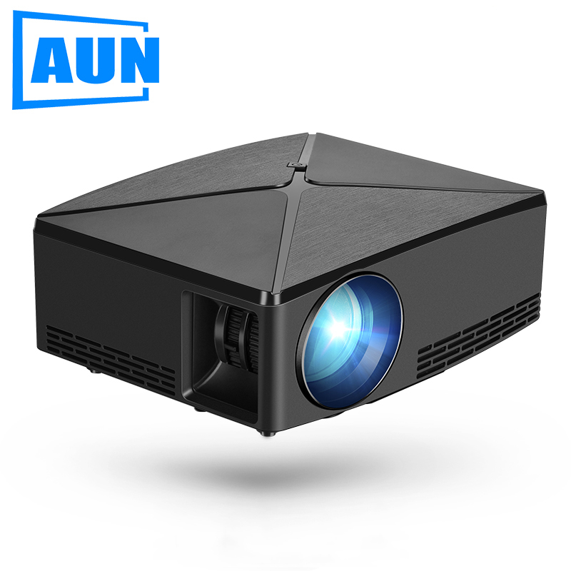 AUN MINI Projector C80UP, 1280x720P Resolution, Android WIFI Proyector, LED Portable 3D Beamer for 4K Home Cinema, Optional C80