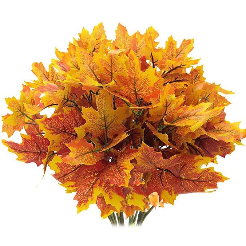 Искусственные кленовые листья ветви осенние листья 5 Пряди украшения для осени уличные устойчивые к ультрафиолетовому излучению раститель...