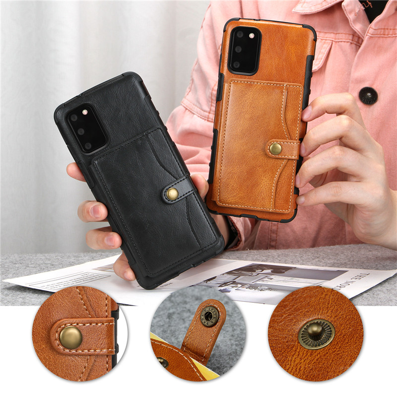Leather Wallet Case for Samsung S20 Ultra S10 Note 10 Plus Flip Card Holder Cover for iPhone 11 Pro Max XS Max XR X SE 2020 7 8 6 6S Plus with Shockproof Phone Bags Cases Coque