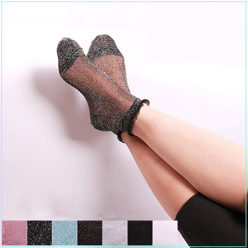 Sexy Lace Women Lace Ruffle Soft Comfy Sheer Silk Glitter Elastic Mesh Knit Frill Trim Transparent Long Ankle Summer Socks