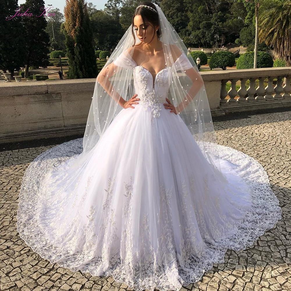 Sending 2 Meters Pearls Veil !  Julia Kui Sweetheart Neckline Luxury Ball Gown Wedding Dress With Chapel Train Off The Shoulder