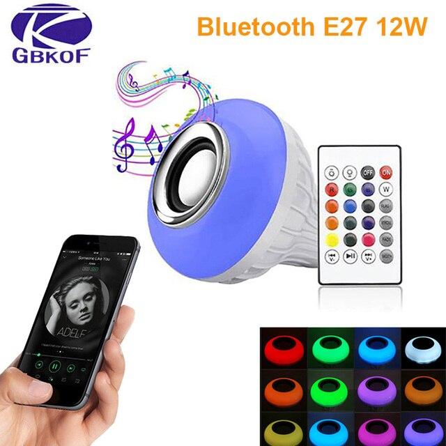 Bluetooth Bulb ampoule led lamp E27 E14 GU10 RGB night Light Bulb with remote control for home spotlight music lamp 110V 220V 85