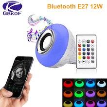 บลูทูธหลอดไฟLEDโคมไฟE27 E14 GU10 RGB Night Lightหลอดไฟด้วยรีโมทคอนโทรลสำหรับHome Spotlightโคมไฟเพลง 110V 220V 85
