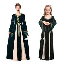Green Elegant Long Propm Party Dress for Women Medieval Cosplay Costumes Halloween Renaissance Family Kids Girls Long Gown