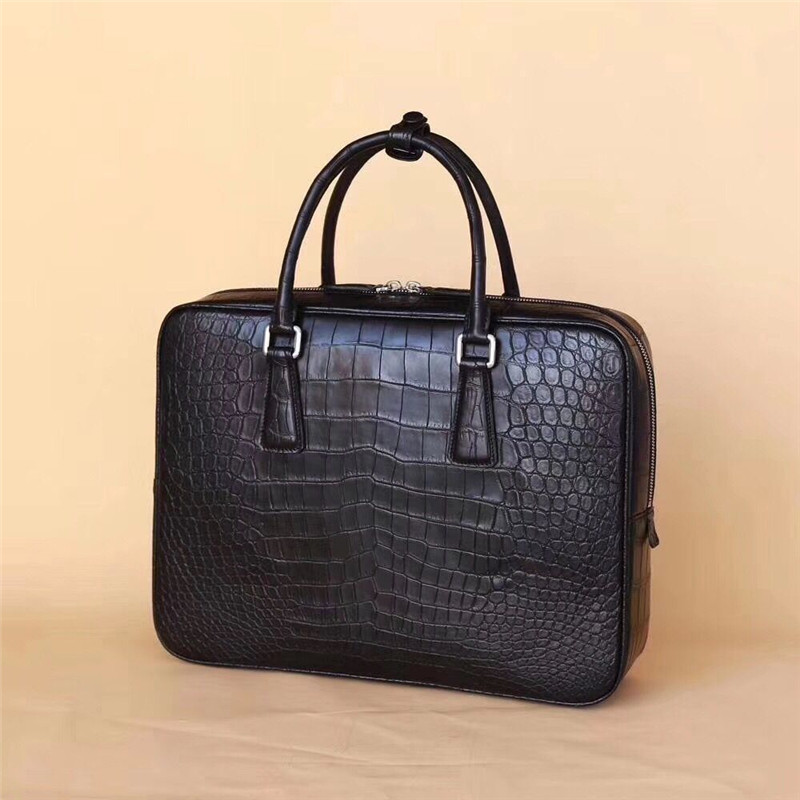 Briefcase Handbag Top-Handle Crocodile Working Business-Style Genuine Male Real Men Belly-Skin