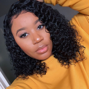 Sapphire 13*4 Lace Front Bob Curly Wig Pre-Plucked Brazilian Curly Human Hair Wigs 150% Density Short Bob Wigs Remy Hair Wig
