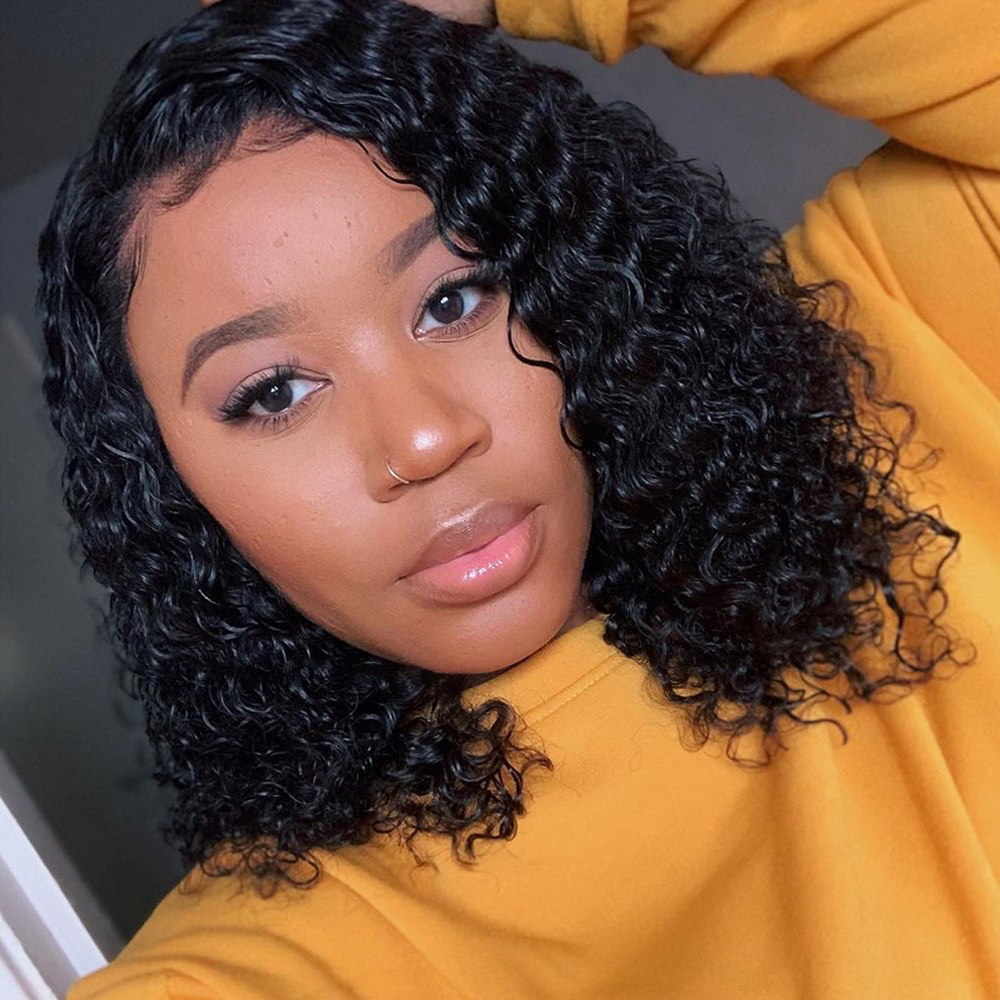 Sapphire 13*4 Lace Front Bob Kinky Curly Wig Brazilian Curly Lace Front Human Hair Wigs 180% Density Short Bob Wigs Remy Hair