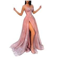 Szczelina bez ramiączek elegancka Sukienka Sexy kobiety formalna Vestidos Prom Party suknia bez rękawów bez pleców, długa sukienka-line Sukienka