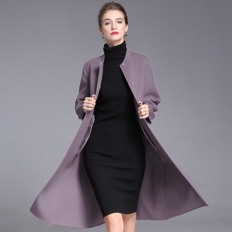 Lange wollen blends kasjmier jassen voor vrouwen 2019 herfst winter dames jassen plus size overjas dubbelzijdig rood mode - 4