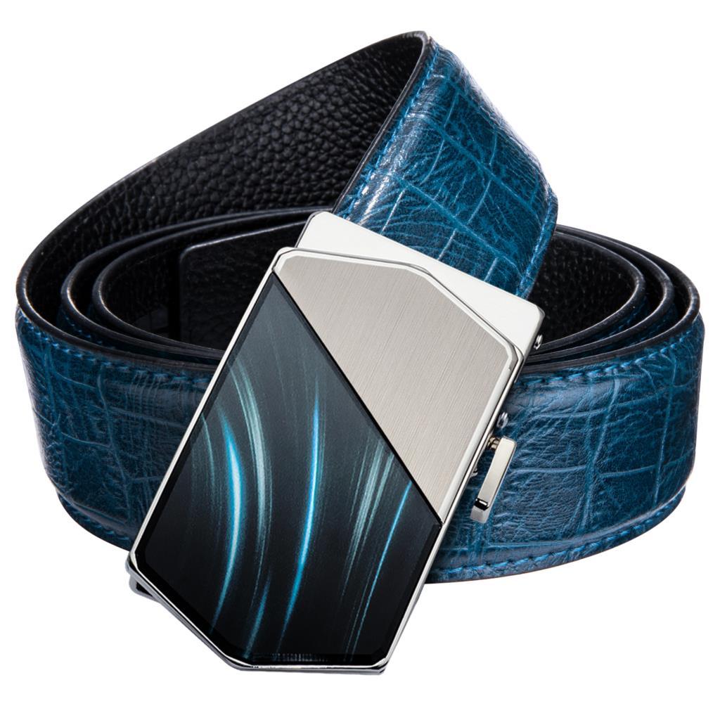 Hi-Tie Fashion Crocodile Belt Men Luxury Designer Casual Blue Leather Jeans Belt Strap Automatic Buckle Belts For Men 130cm