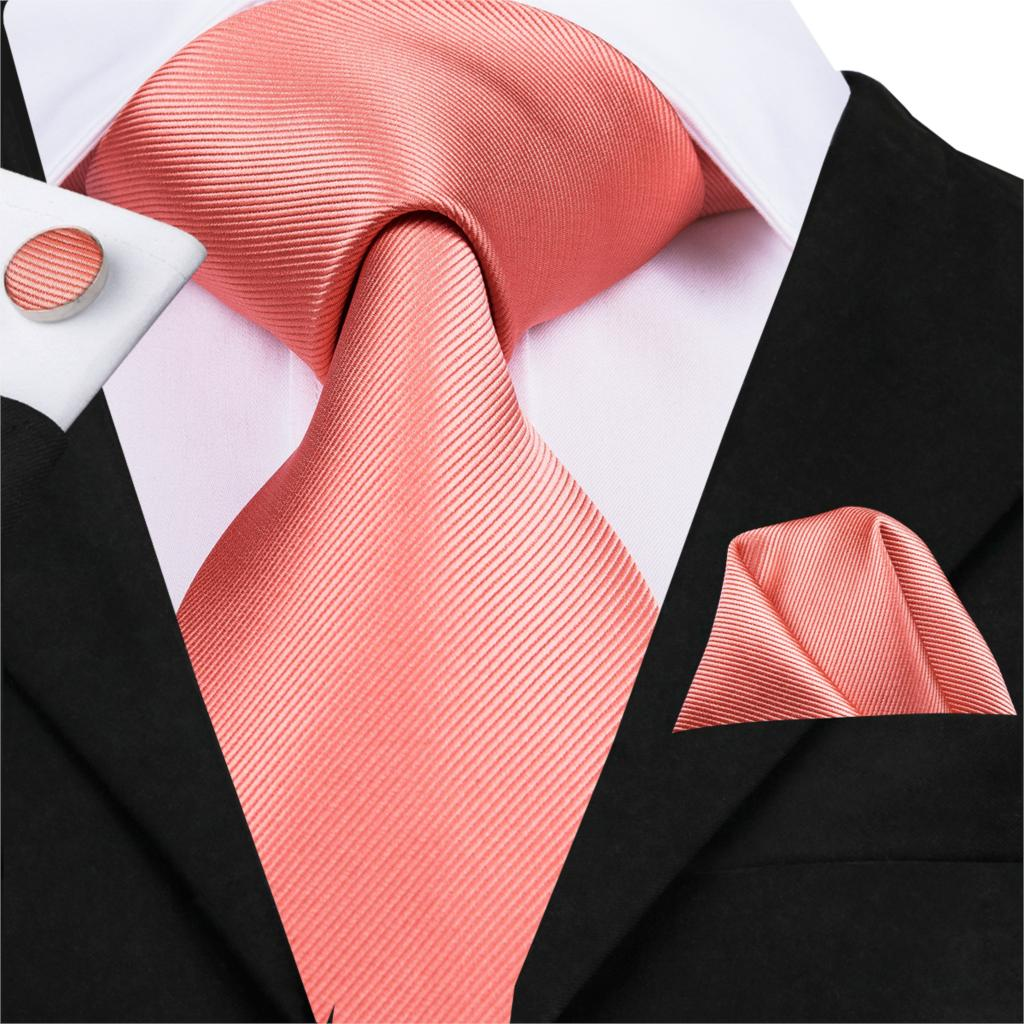Hi-Tie 150cm Men Coral Ties Solid Silk Tie For Wedding Designer Neck Tie Set Pink Boutonniere Cufflinks Business Tie SN-3098