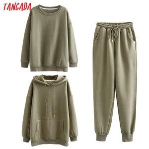 Tangada Women couple tracksuit fleece 100% cotton suit 3 pieces sets lavender hood hoodies sweatshirt pants suits plus size SD60