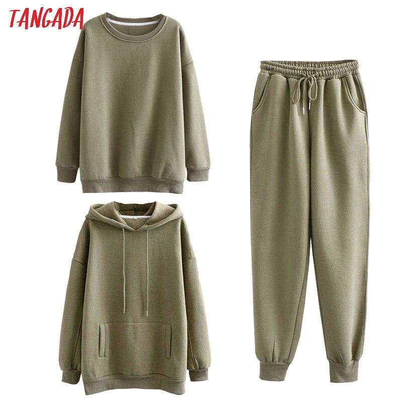 Permalink to Tangada Women couple tracksuit fleece 100% cotton suit sets amygreen hood hoodies sweatshirt pants suits plus size SD60