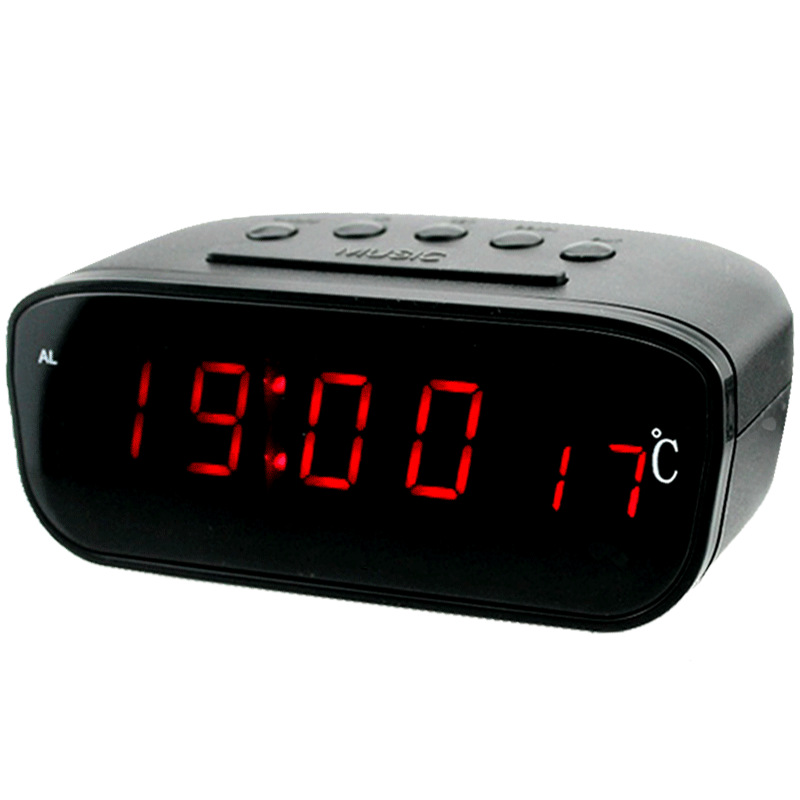 Large Screen Car LED Electronic Clock Car Clock with Alarm Clock Thermometer Red LED Backlight