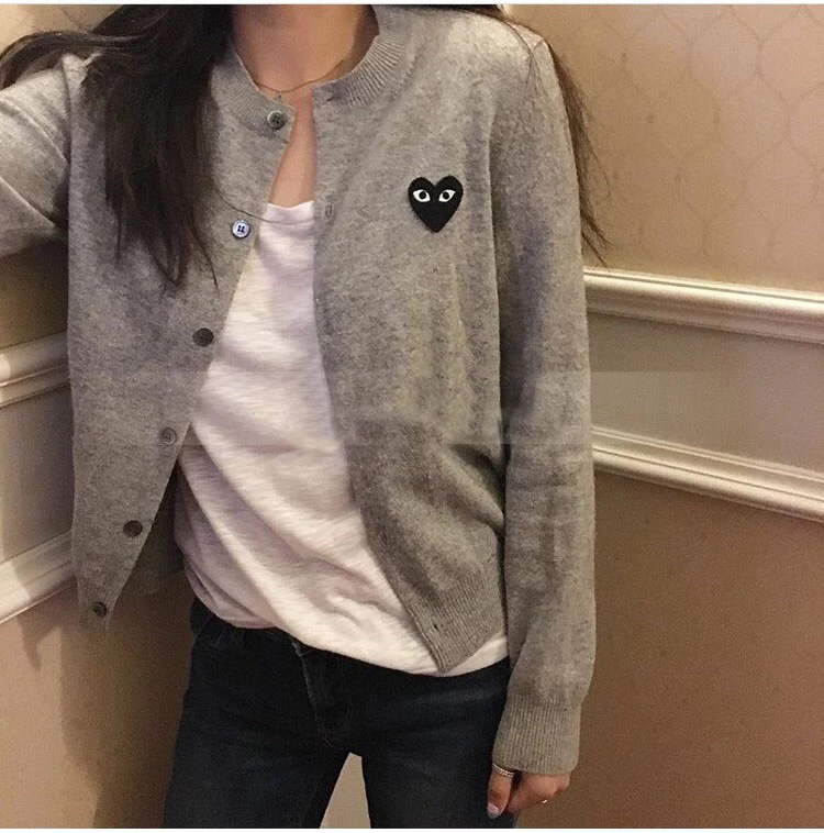 Women's Wool Cardigan Coat  Long-sleeved Solid Colors Clothes 2019 Autumn 6 Color Single-breasted Red Heart Knit Sweater