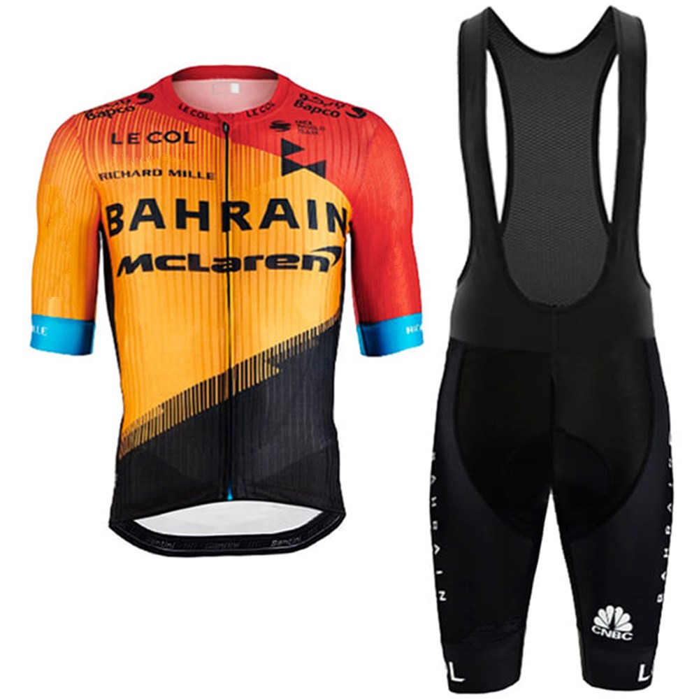 Le Col Team Bahrain Mclaren 2020 Cycling Suit Orange Shirts Clothing Bike Jersey Set Ciclismo Ropa Jacket Bib Shorts Maillot Kit