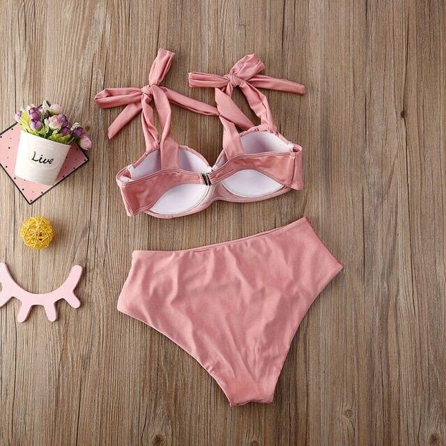 2020 New Womens Padded Bra Push-up Swimwear Bikini Set High Waisted Swimsuit Bathing Swimming Costume 8