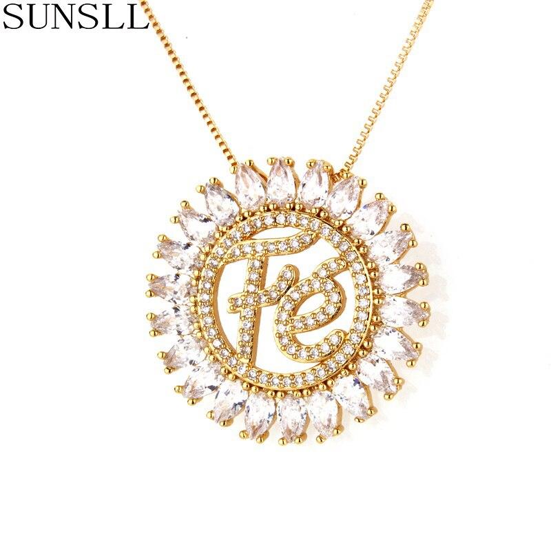 Sunsll ouro/prata/preto cor cobre 2 cor zircônia cúbica pingente colares moda feminina jóias cz colar feminino
