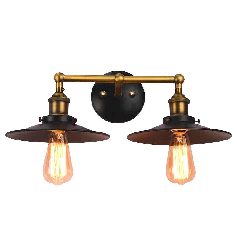 American vintage loft bedroom double head black iron wall lamp simple home corridor deco E27 bulb bronze AC110/220V LED lighting