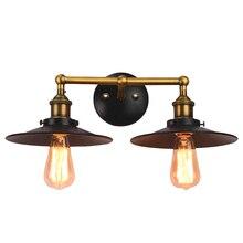 Lámpara de pared de hierro negra de doble cabeza para dormitorio loft vintage americano simple pasillo de Casa deco E27 bombilla de bronce AC110/220 V iluminación LED