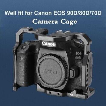Ramka do kamery dslr UURig do obudowy Canon EOS 70D 80D 90D zimny but 1/4 ''otwór Arri do mikrofonu ledowe światło wypełniające rozszerzenie