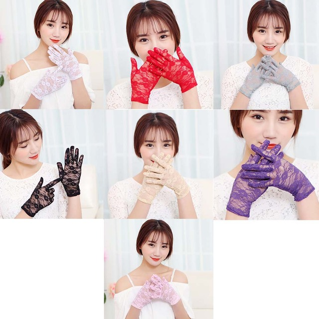 New Arrivial Party Sexy Dressy Gloves Women Lady Lace Mittens Accessories Sunscreen Summer Full Finger Girls Lace Fashion Gloves 5