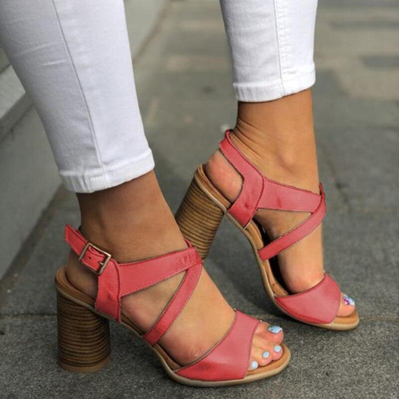 SWQZVT Plus size summer sandals women designer leather women high heels shoes vintage buckle classic casual ladies sandals 2020  (1)