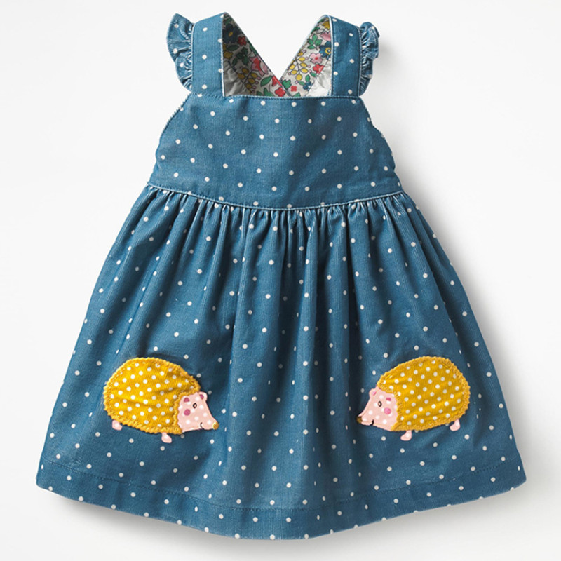Little maven kids brand clothes 2019 autumn baby girls clothes Cotton FRUIT ANIMAL applique dot sundress girl sleeveless dresses 3
