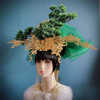 green forest headwear women's stage performance hair accessories model show headwear studio photography supplies party head wear