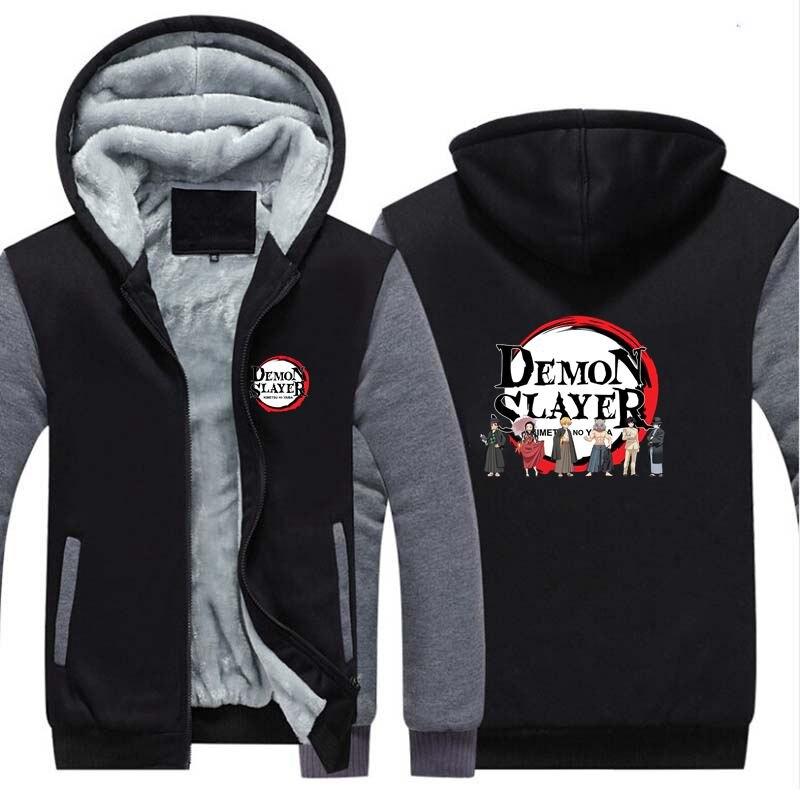 New Demon Slayer: Kimetsu No Yaiba Winter Hoodie Sweatshirts Cosplay Anime Thicken Warm Coat Hooded Men Women Clothing Gift