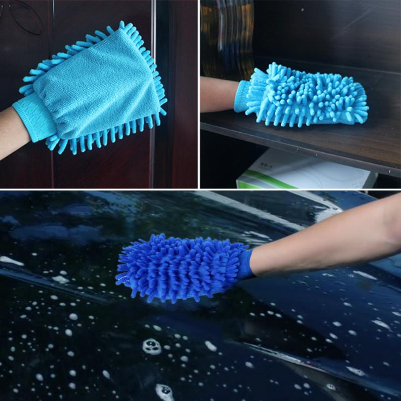 Multicolor Microfiber Car Cleaning Gloves Kitchen Cleaning Cloth Duster Mitten Chenille Car Care Car Windows Mirror Washing Tool